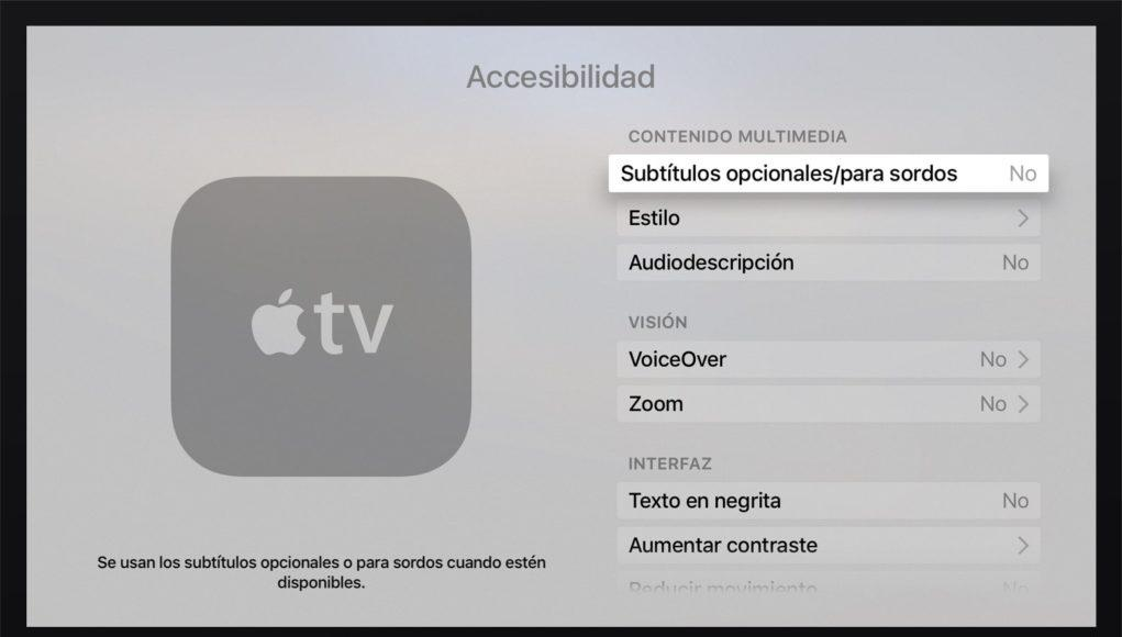 Accesibilidad mando Apple TV 4