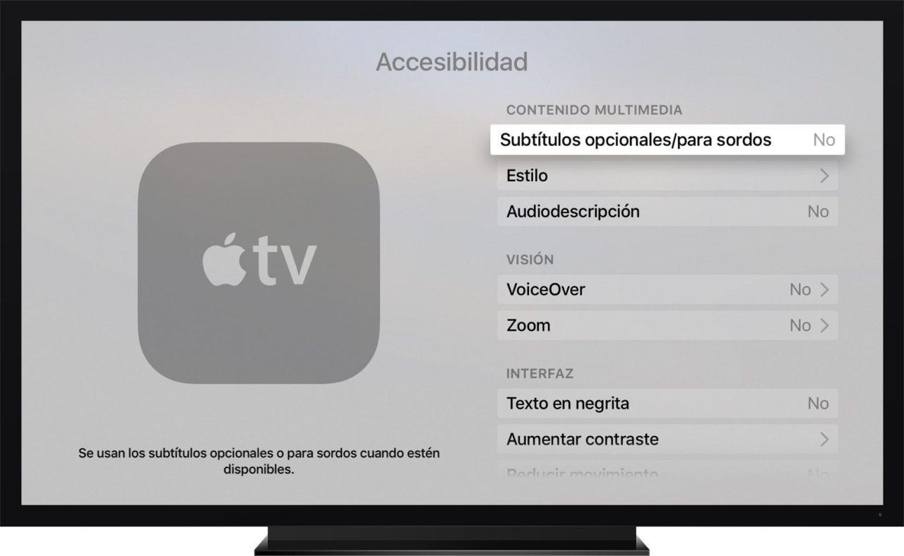 Accesibilidad mando Apple TV 4