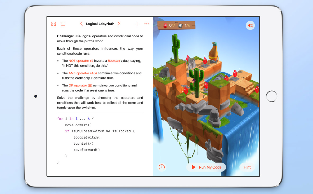 Swift Playgrounds en iPad