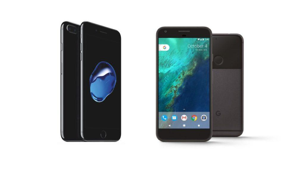 iPhone 7 Plus y Google Pixel XL