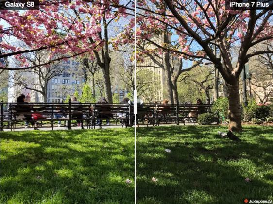 Comparativa Fotos luz brillante Samsung Galaxy S8+ iPhone 7