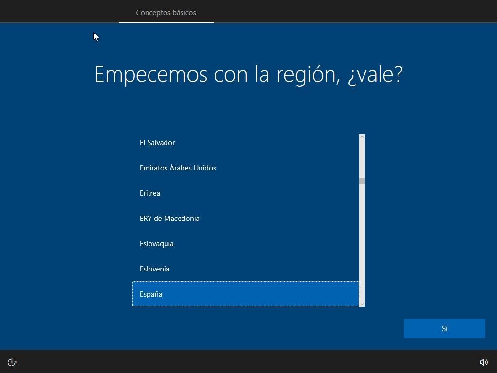 Asistente de configuración inicial de Windows 10. Seleccionamos nuestra ubicación (e idioma en caso de que nos lo pida).