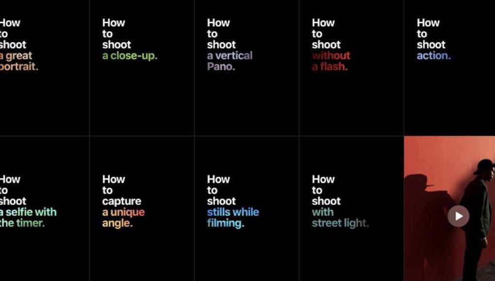 Sitio web de Apple sobre fotografía