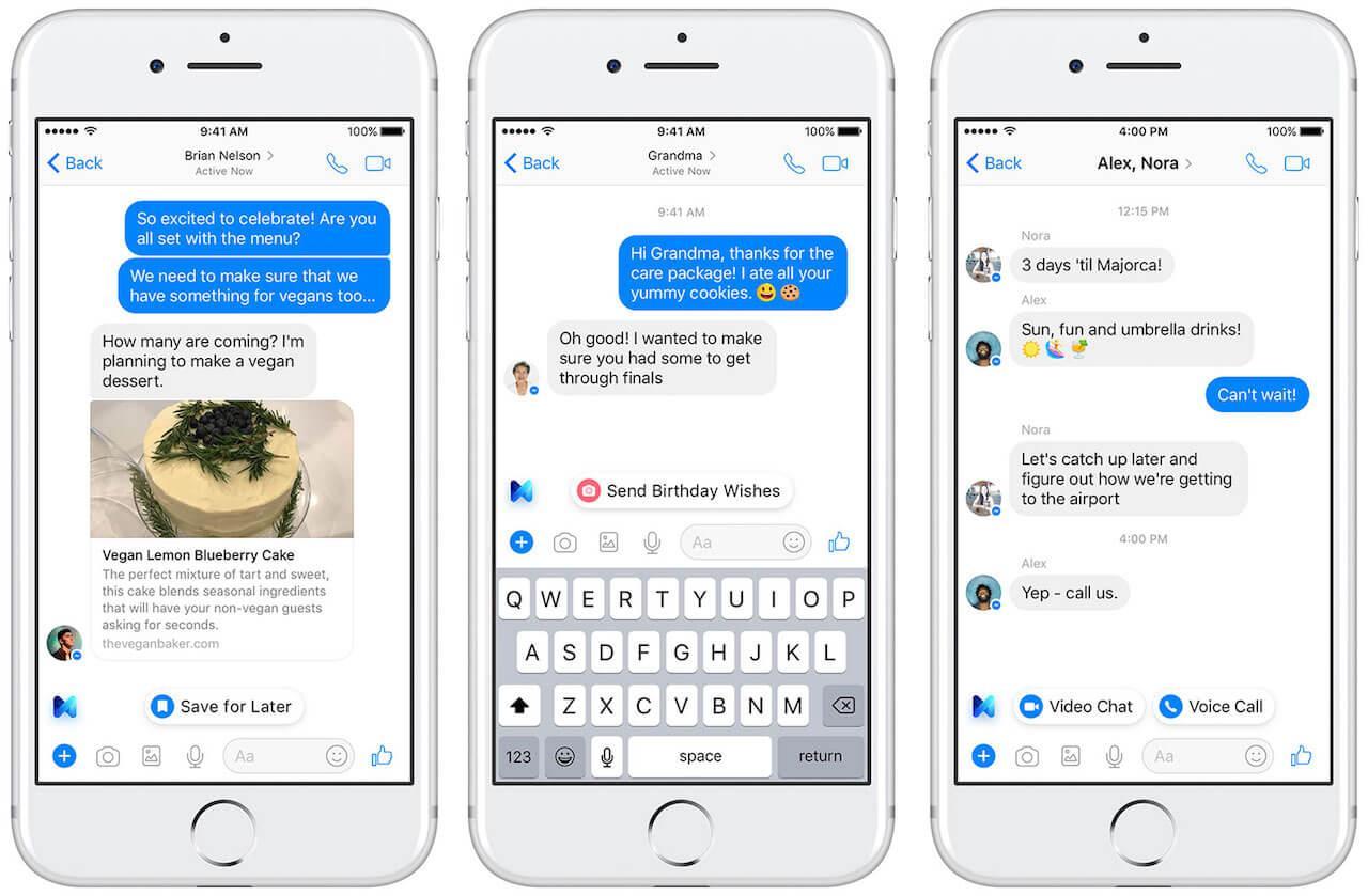Facebook Messenger con M el asistente de Facebook