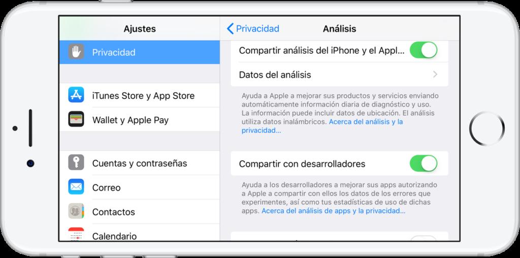 Ajustes - Privacidad - iOS