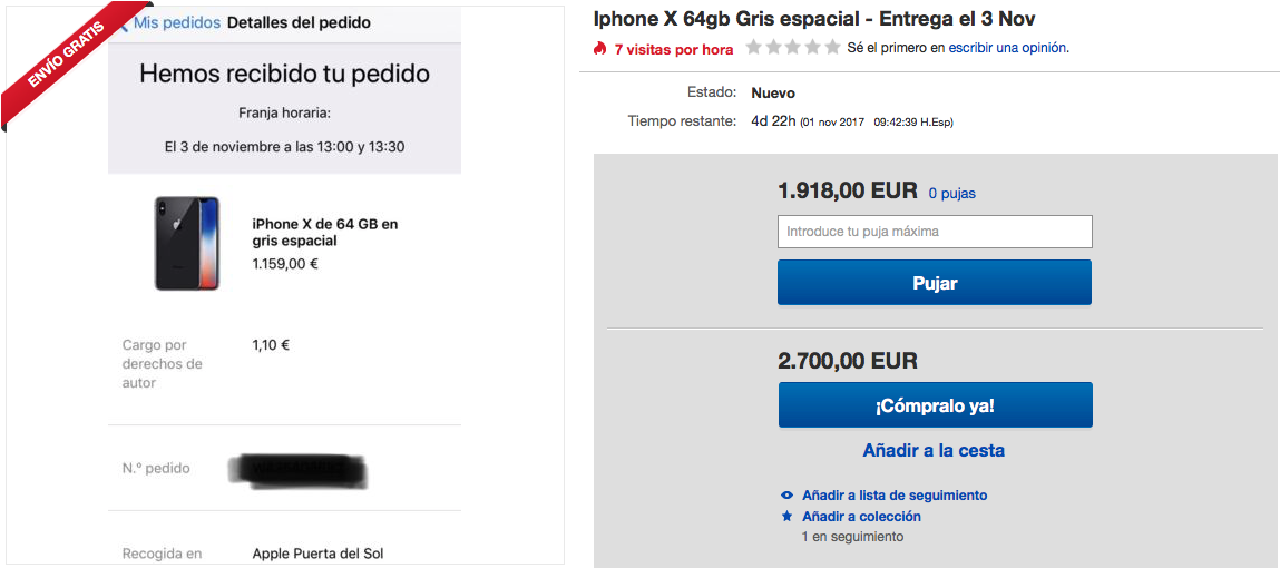 iPhone X eBay reventa