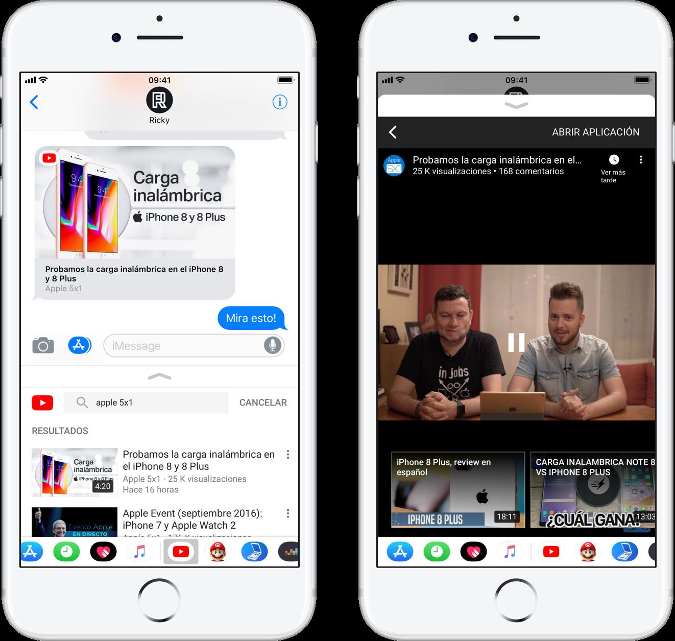 Mensajes Apple YouTube
