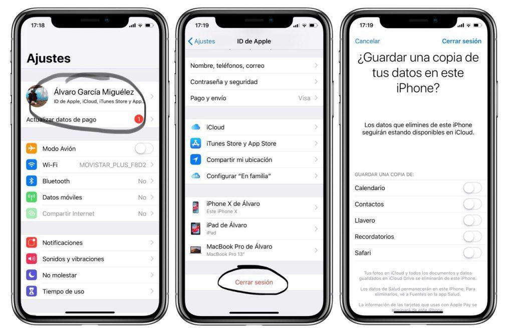 Pasos para borrar una cuenta de iCloud