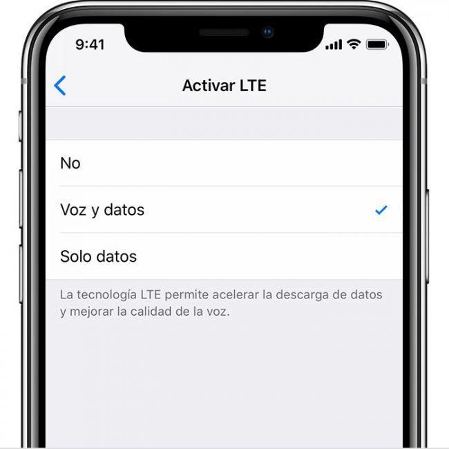 iOS 12 iPhone opciones LTE