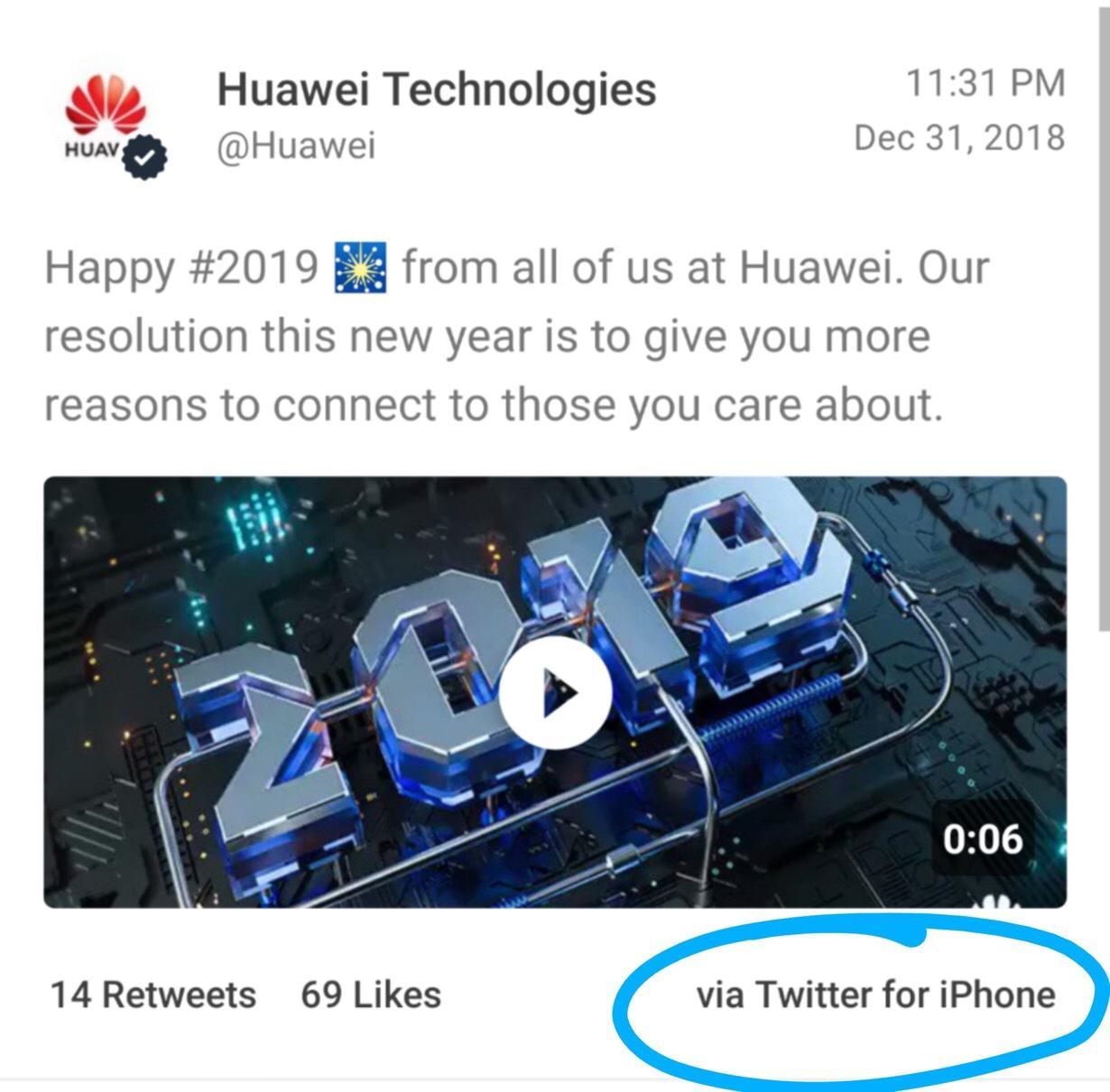 Huawei felicita el año nuevo... ¡Desde un iPhone!