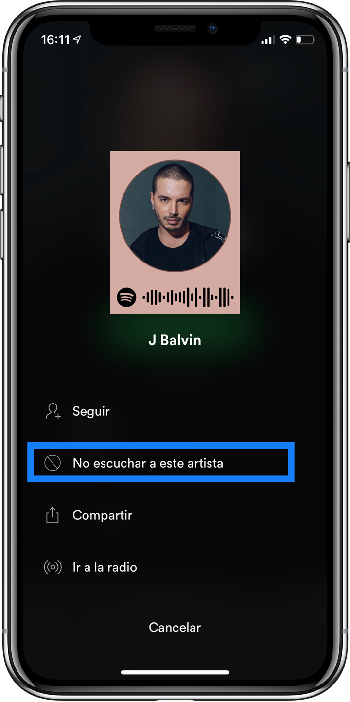 Spotify no escuchar artista
