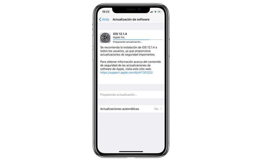Actualización iOS 12.1.4