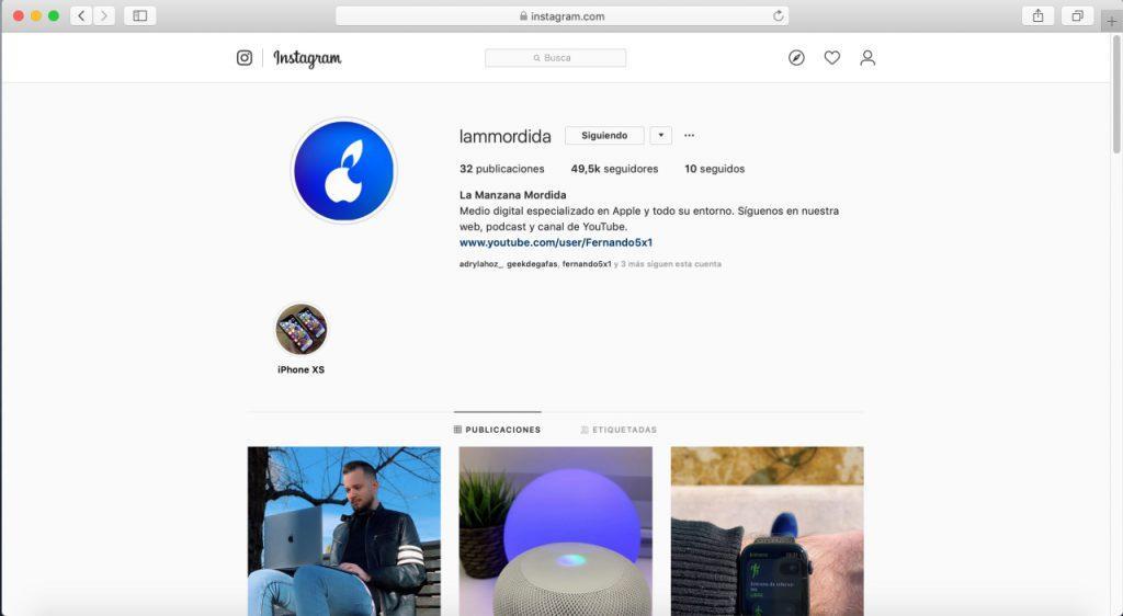 La versión web podría ser una alternativa a Instagram en iPad