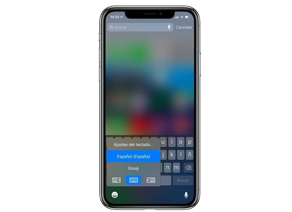 Teclado a una mano iPhone X, XS, XS Max y XR