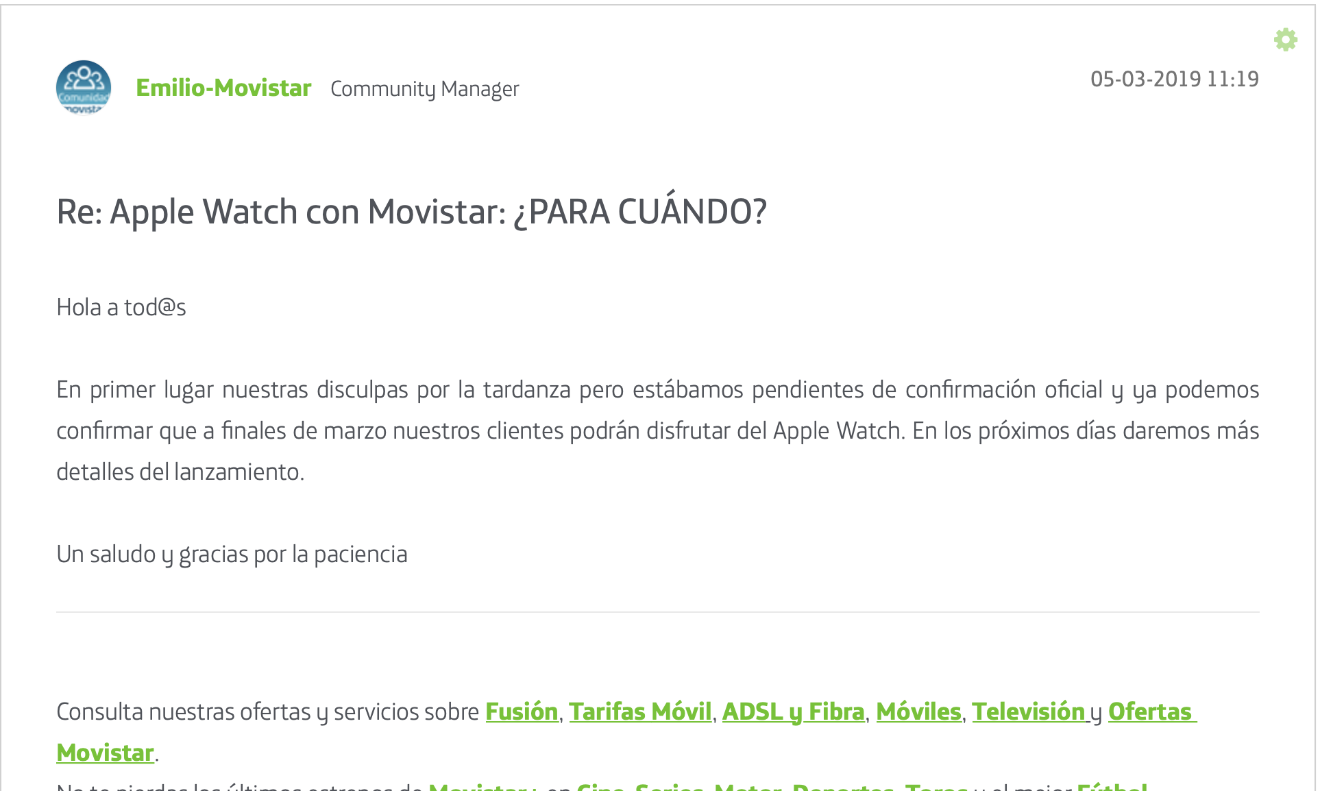 eSIM Apple Watch Movistar
