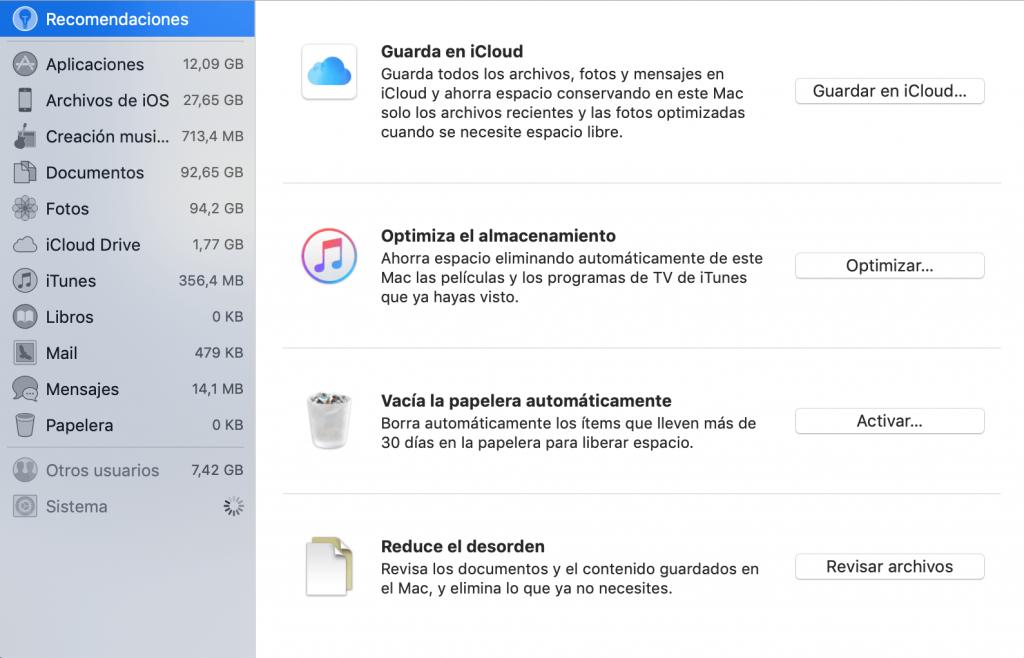 Gestionar almacenamiento Mac