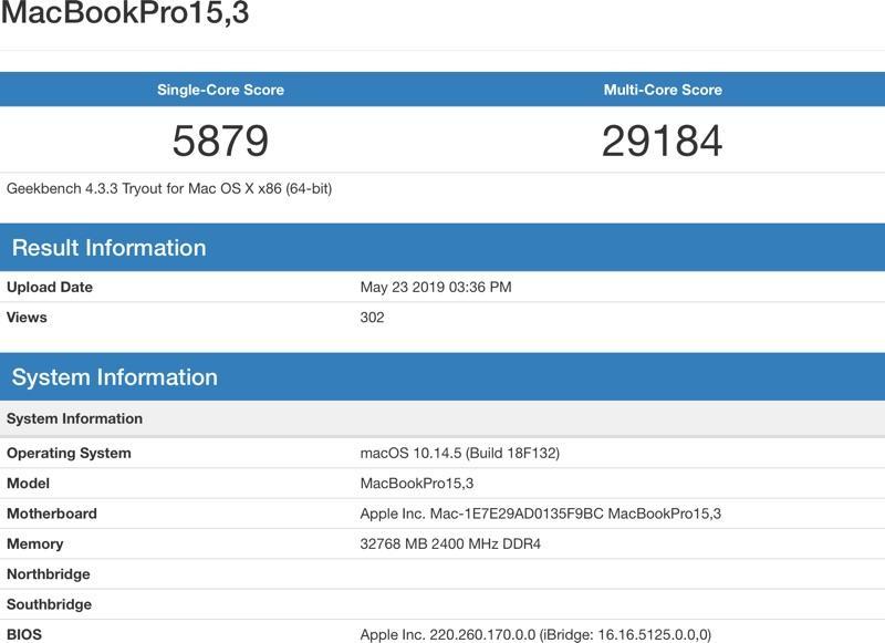 rendimiento MacBook Pro 2019 benchmark