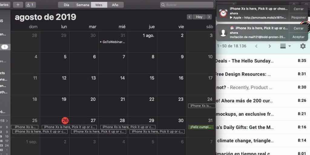 spam calendario iphone mac ipad