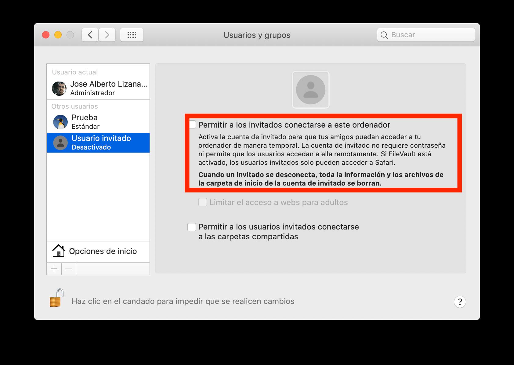 Desactivar cuenta invitado Mac