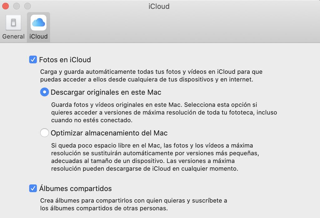 Activar fototeca iCloud Mac