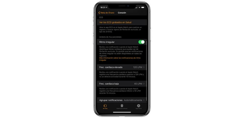 notificaciones frecuencia cardiaca apple watch
