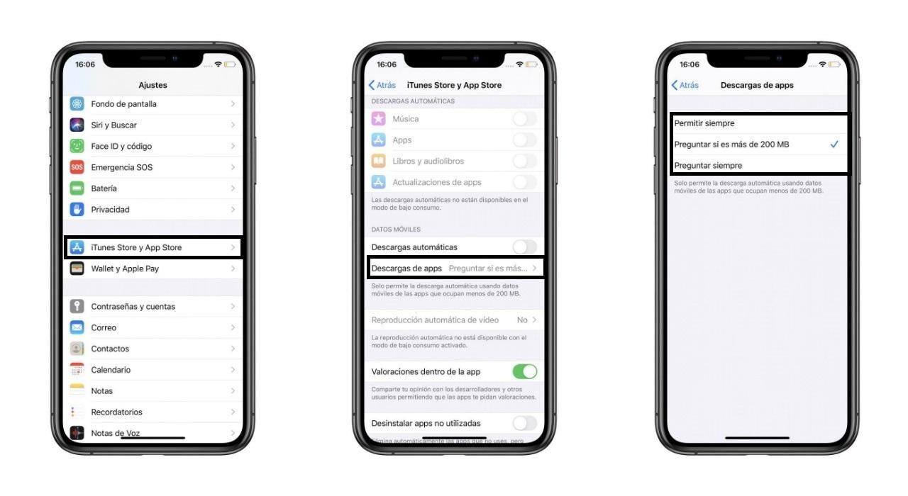 Datos móviles DESCARGAS App Store