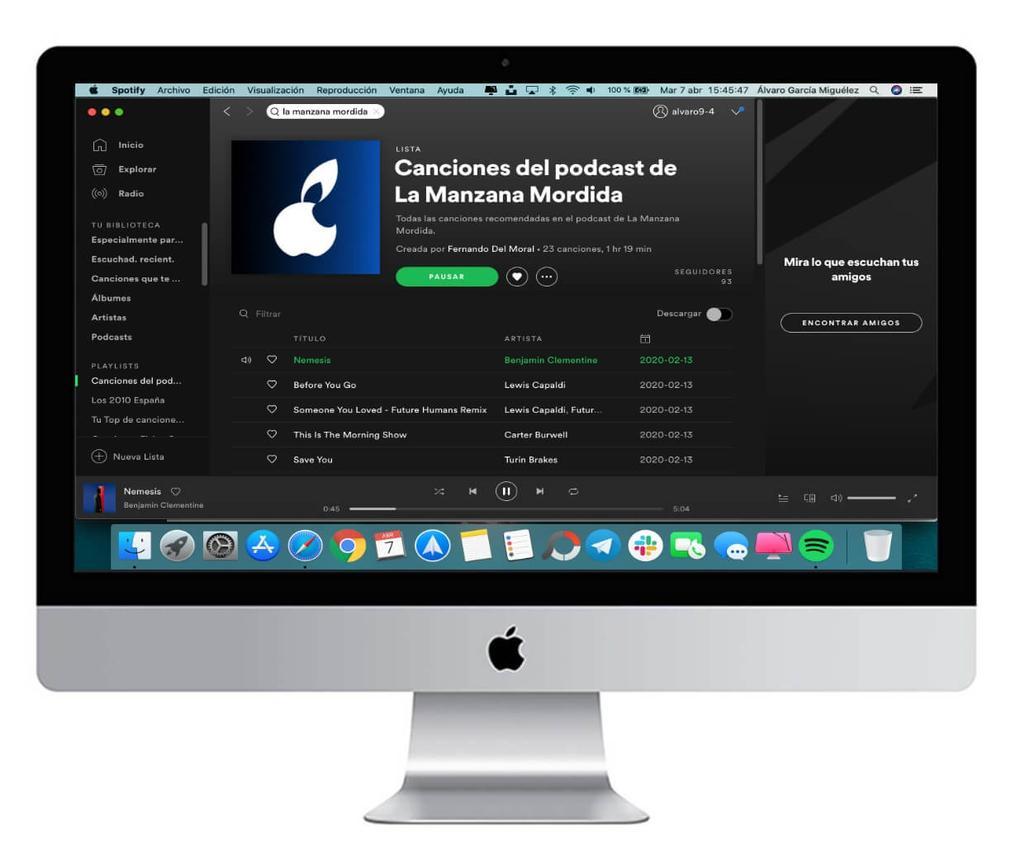 aplicación spotify mac
