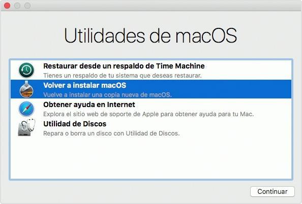 Utilidades de macOS Recuperación