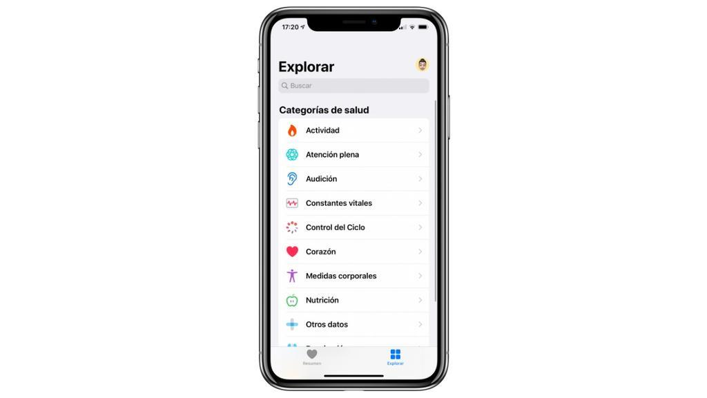 Explorar app Salud iPhone
