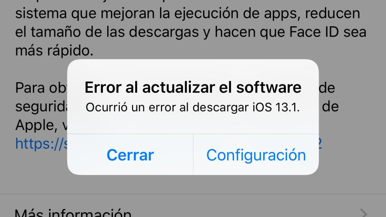 error actualizar software ios