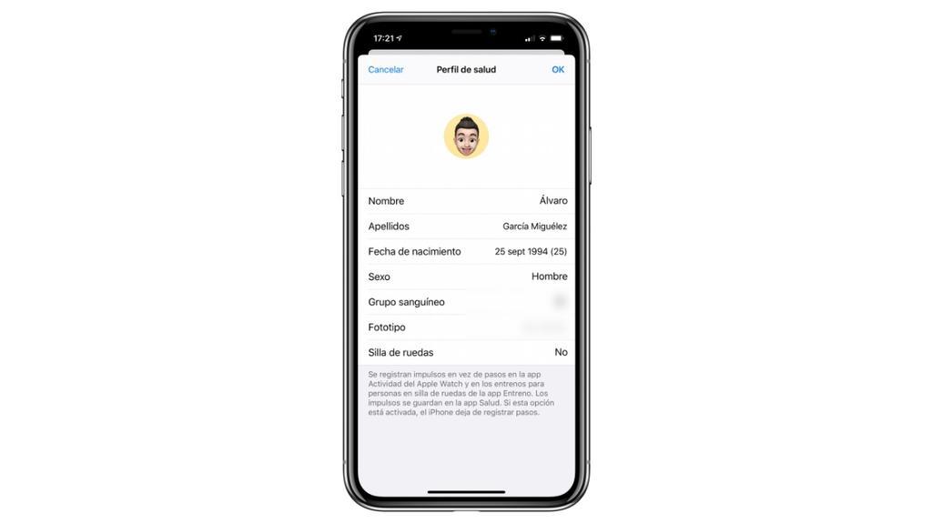 perfil salud iphone