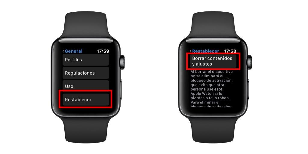 restablecer apple watch