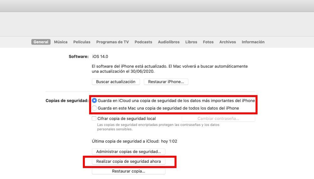 Copia seguridad ordenador iPhone