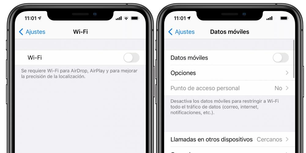 IPhone de datos móviles WiFi
