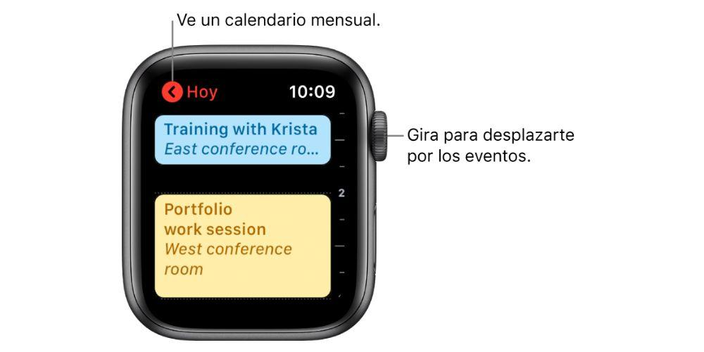 ver eventos en Apple Watch