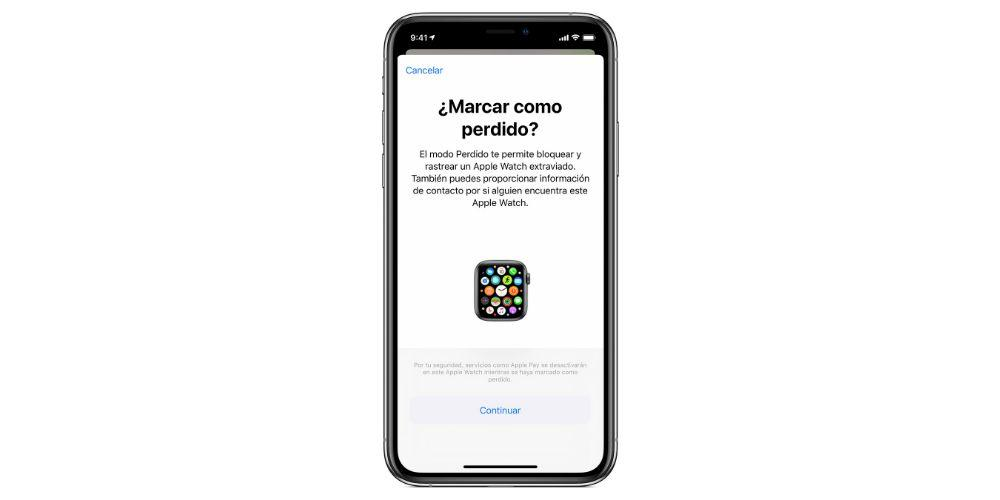 modo perdido Apple Watch