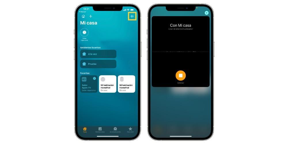 Usar intercomunicador app Casa