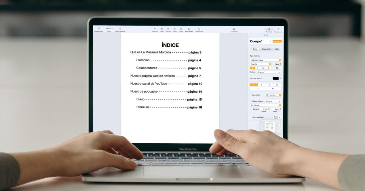 como crear indices de pages en mac